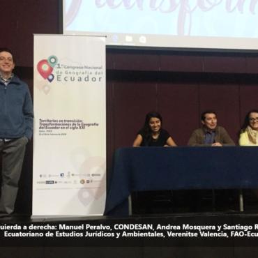 CONDESAN es co-organizador y ponente en el Primer Congreso Nacional de Geografía del Ecuador