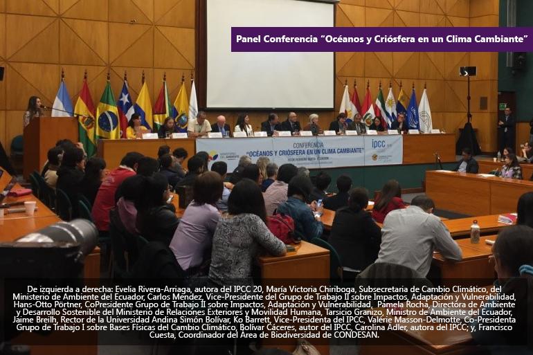 """Condesan presenta las investigaciones de las redes de las que es parte en la conferencia """"Océanos y Criósfera en un clima cambiante"""" organizada por el IPCC y el MAE"""
