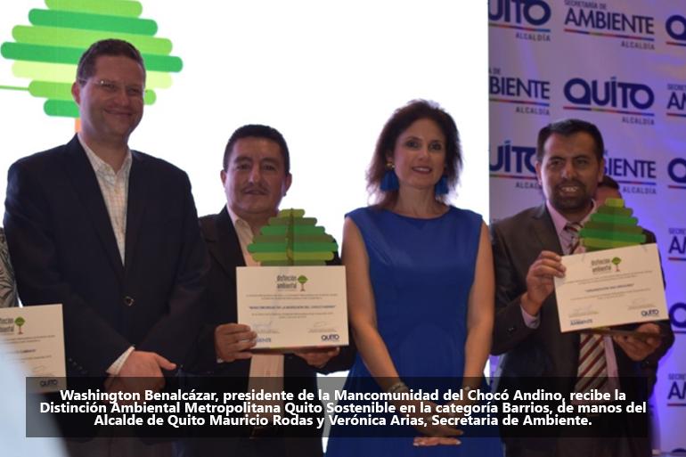 La Mancomunidad del Chocó Andino recibe Distinción Ambiental Metropolitana Quito Sostenible 2018
