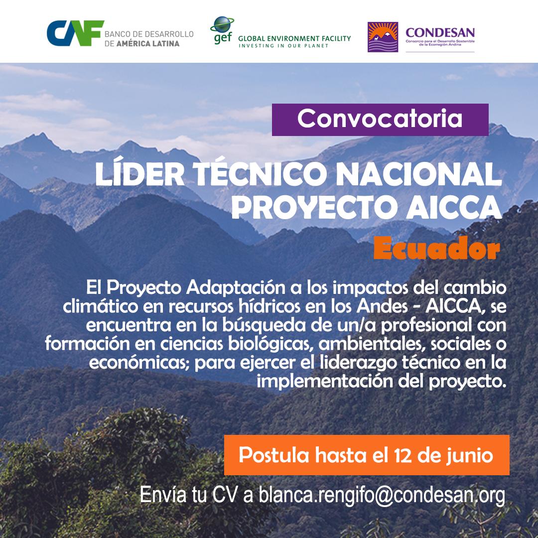 Convocatoria: Líder Técnico Nacional del Proyecto AICCA – Ecuador