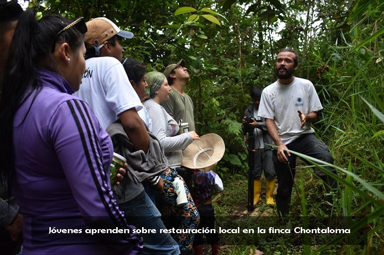 Jóvenes de la Mancomunidad del Chocó Andino se capacitan en el Sendero Ecológico de la Restauración