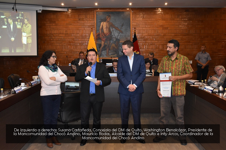 La Mancomunidad del Chocó Andino recibe reconocimiento del Concejo Metropolitano de Quito por servicios relevantes a la ciudad
