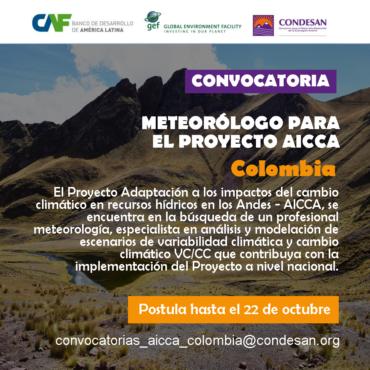 Convocatoria: Profesional Meteorólogo del Proyecto AICCA – Colombia