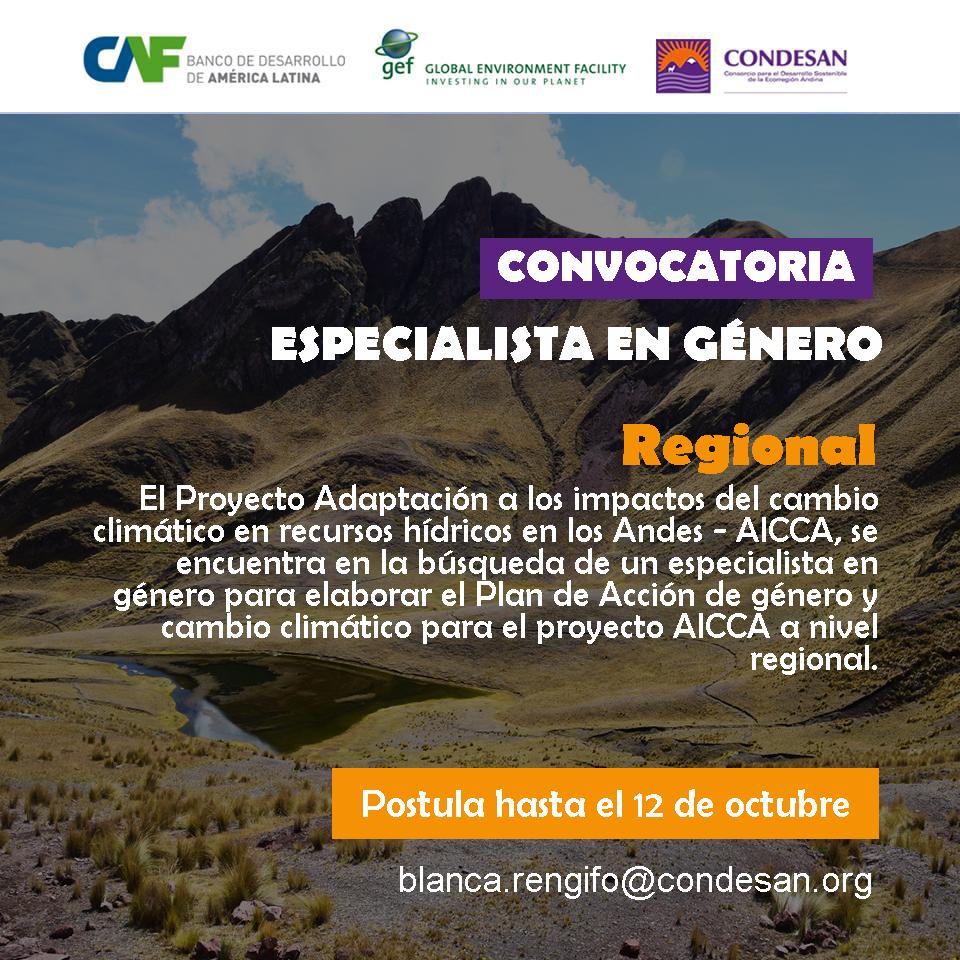 Convocatoria: Especialista en género para el Proyecto AICCA – Regional