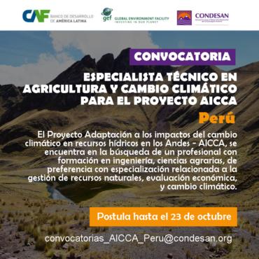 Convocatoria: Especialista técnico en agricultura y cambio climático del Proyecto AICCA – Perú