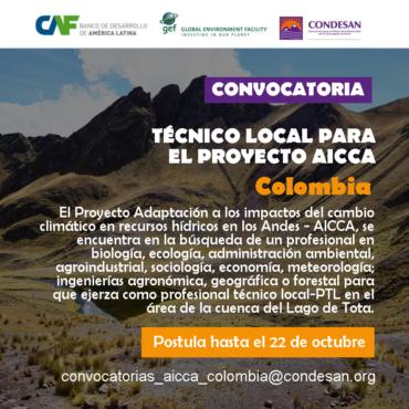 Convocatoria: Profesional Técnico Local del Proyecto AICCA – Colombia