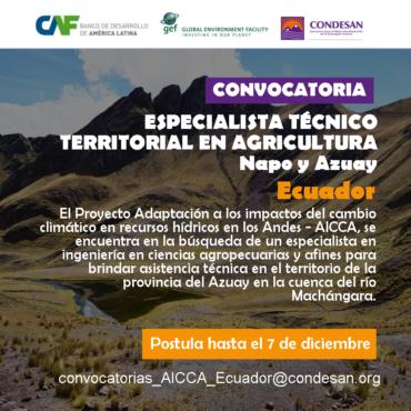 Convocatoria: Especialista Técnico Territorial en agricultura (Azuay y Napo) del Proyecto AICCA – Ecuador