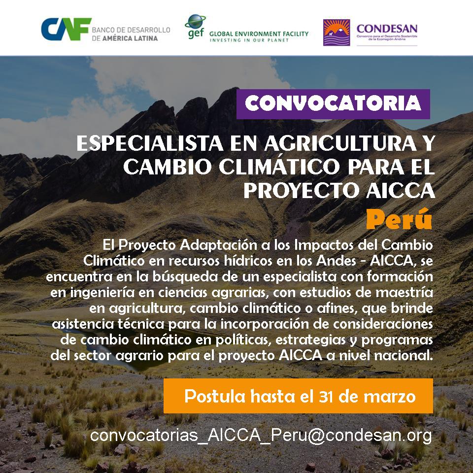 Convocatoria: Especialista en Agricultura y Cambio Climático