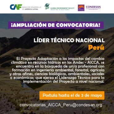 Convocatoria: Líder Técnico Nacional del Proyecto AICCA – Perú