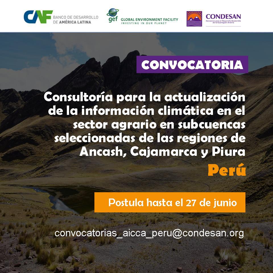 Convocatoria: Consultoría Actualización Información Climática – Proyecto AICCA Perú