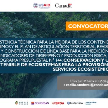 Convocatoria: Asistencia Técnica proyecto Infraestructura Natural para la Seguridad Hídrica – Perú