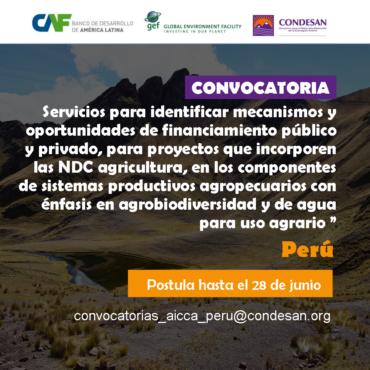 Convocatoria: Consultoría para desarrollar Mecanismos y oportunidades de financiamiento NDC Agricultura – Proyecto AICCA Perú
