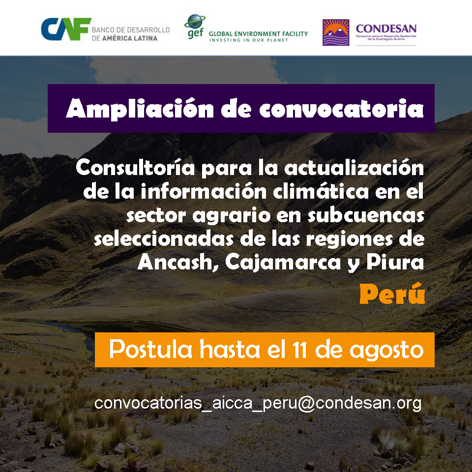 Ampliación convocatoria: Consultoría Actualización Información Climática – Proyecto AICCA Perú