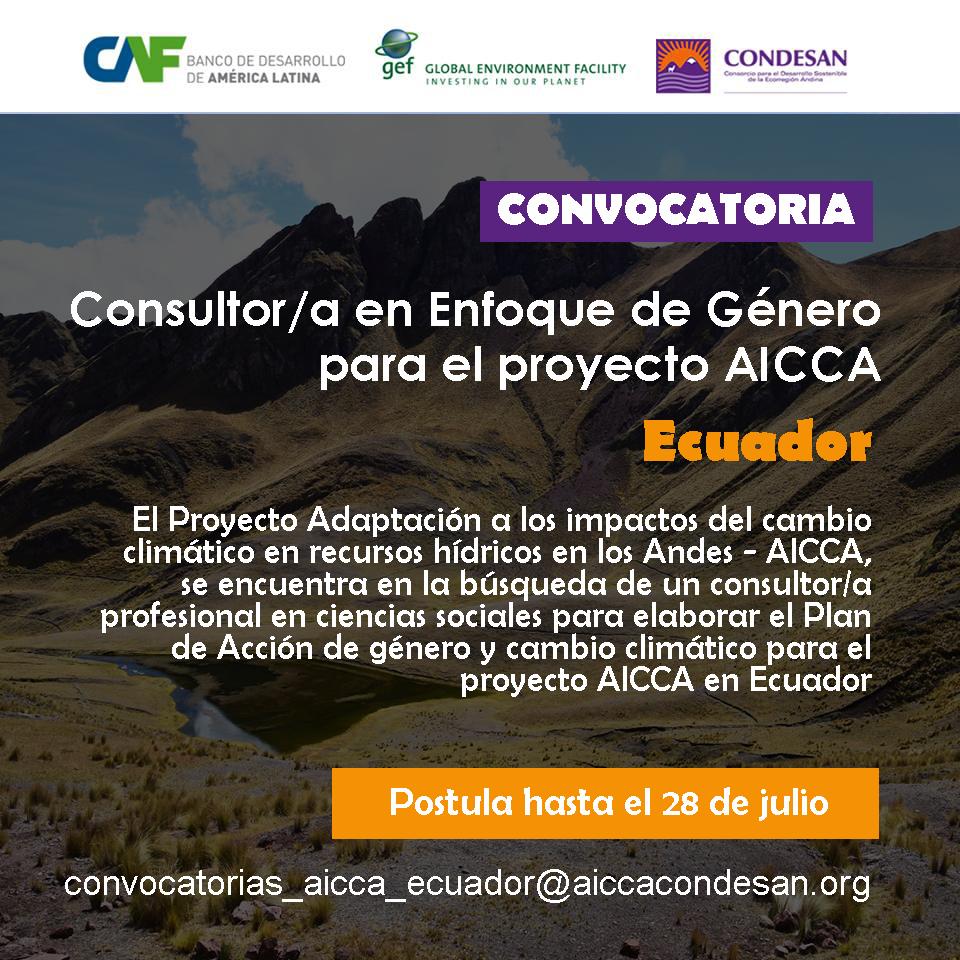 Convocatoria: Consultor/a en Enfoque de Género para el proyecto AICCA-Ecuador