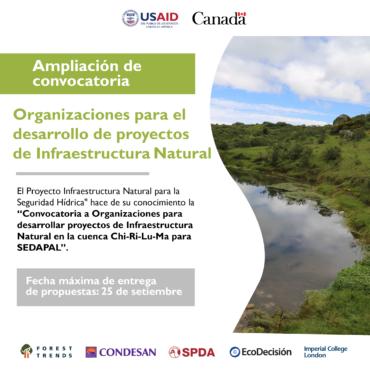 Convocatoria a Organizaciones para el desarrollo de proyectos de Infraestructura Natural