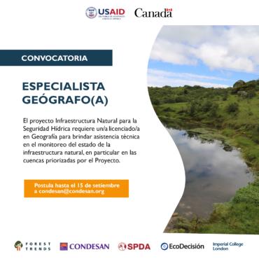 Convocatoria: Especialista geógrafo/a – Proyecto INSH Perú