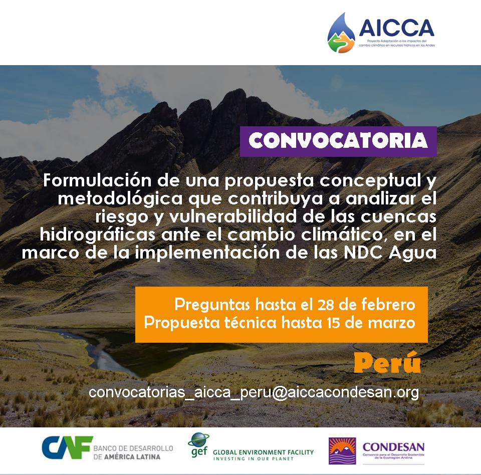 Convocatoria AICCA Perú: Propuesta metodológica cuencas vulnerables al cambio climático.