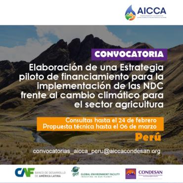 Convocatoria AICCA Perú:  Consultoría para mecanismos financieros NDC agricultura