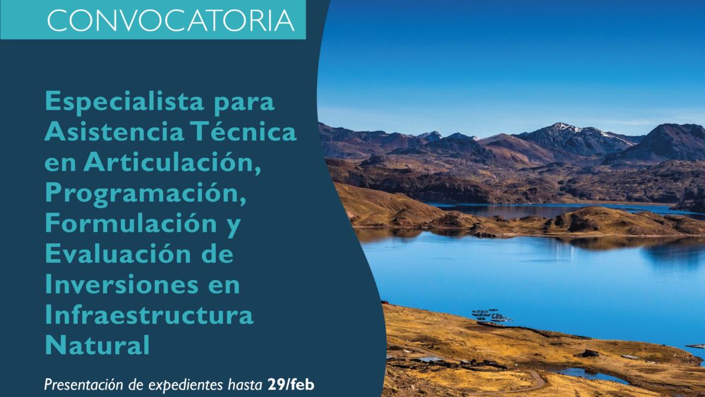 Convocatoria Perú: Especialista en inversiones en Infraestructura Natural