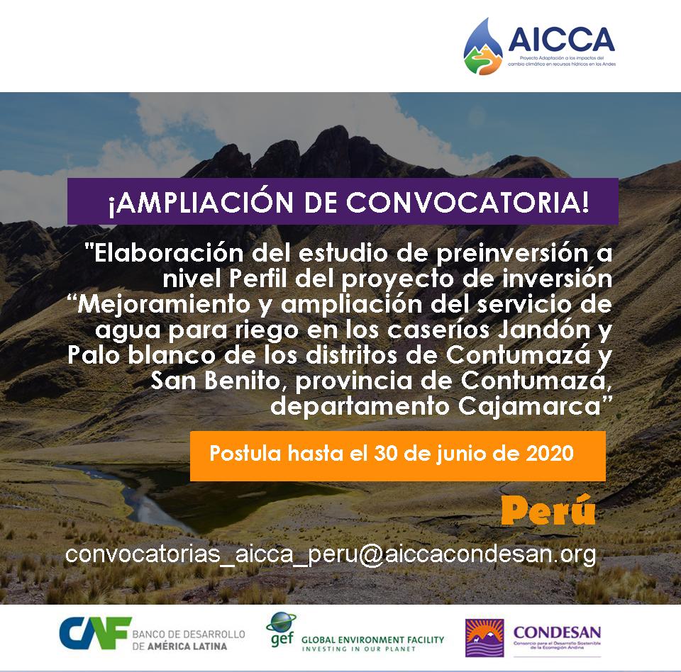 Convocatoria AICCA Perú – AMPLIACIÓN DE CONVOCATORIA
