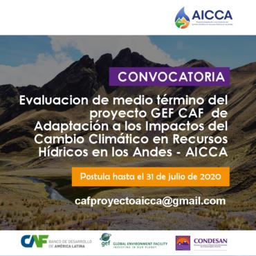 CONVOCATORIA – Evaluacion de medio término del proyecto GEF CAF AICCA