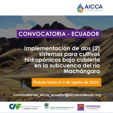 Convocatoria AICCA Ecuador: Sistemas hidropónicos