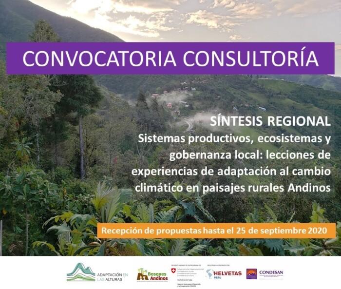 """Convocatoria consultoría: """"Síntesis regional sobre sistemas productivos, ecosistemas y gobernanza local: lecciones de experiencias de adaptación al cambio climático en paisajes rurales Andinos"""""""