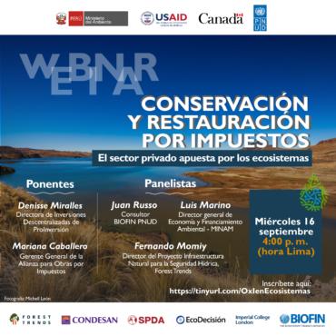 Se busca impulsar restauración de ecosistemas y proyectos de infraestructura natural con mayor participación del sector privado