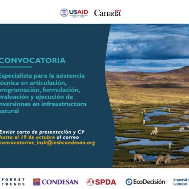 Convocatoria Perú: Especialista para asistencia técnica en infraestructura natural