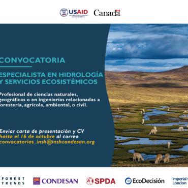 CONVOCATORIA PERÚ: Especialista en hidrología y servicios ecosistémicos