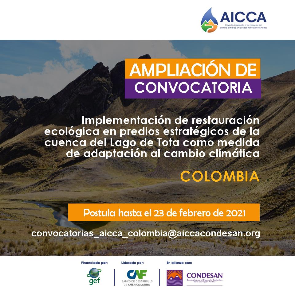 Convocatoria AICCA Colombia – AMPLIACIÓN DE CONVOCATORIA